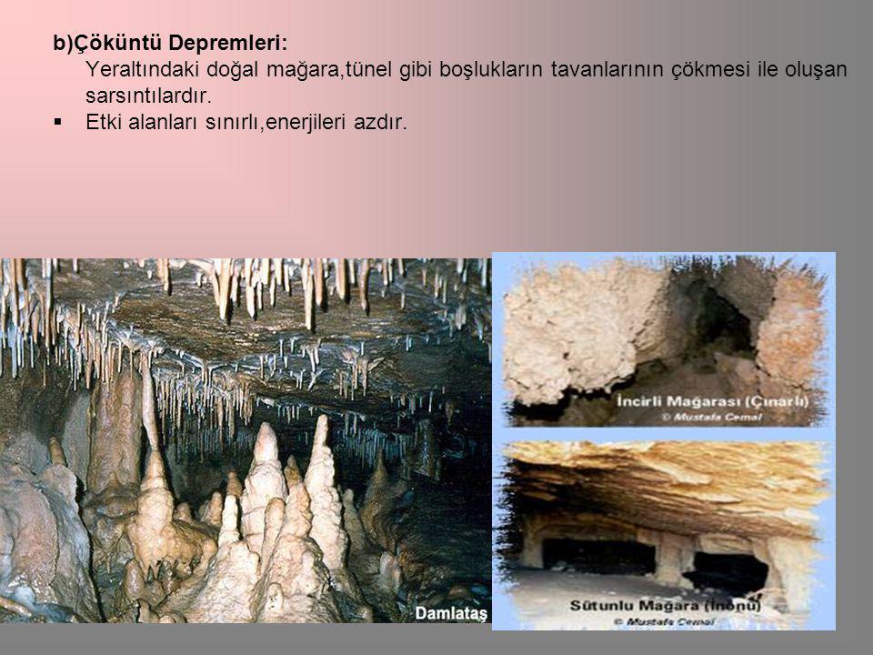 b)Çöküntü Depremleri: Yeraltındaki doğal mağara,tünel gibi boşlukların tavanlarının çökmesi ile oluşan sarsıntılardır.
