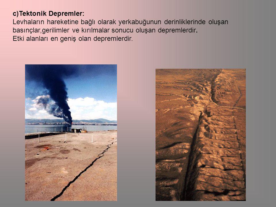 c)Tektonik Depremler: Levhaların hareketine bağlı olarak yerkabuğunun derinliklerinde oluşan basınçlar,gerilimler ve kırılmalar sonucu oluşan depremlerdir.