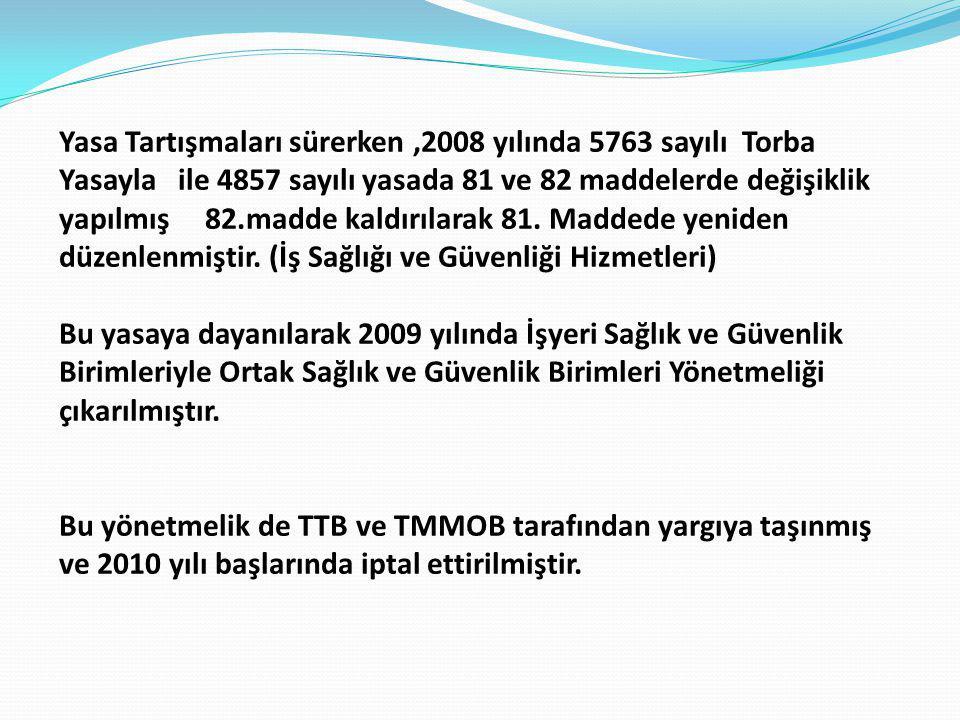 Yasa Tartışmaları sürerken,2008 yılında 5763 sayılı Torba Yasayla ile 4857 sayılı yasada 81 ve 82 maddelerde değişiklik yapılmış 82.madde kaldırılarak 81.