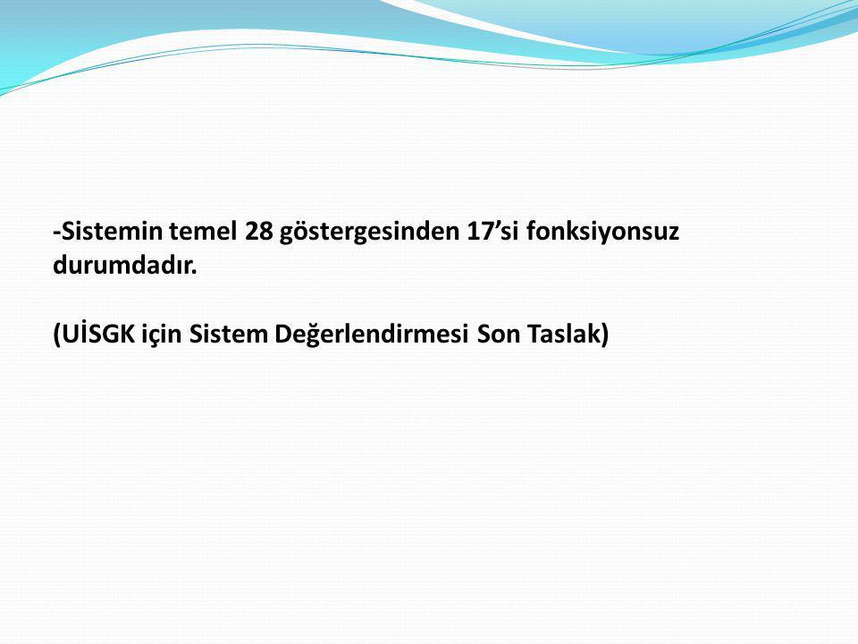 -Sistemin temel 28 göstergesinden 17'si fonksiyonsuz durumdadır. (UİSGK için Sistem Değerlendirmesi Son Taslak)
