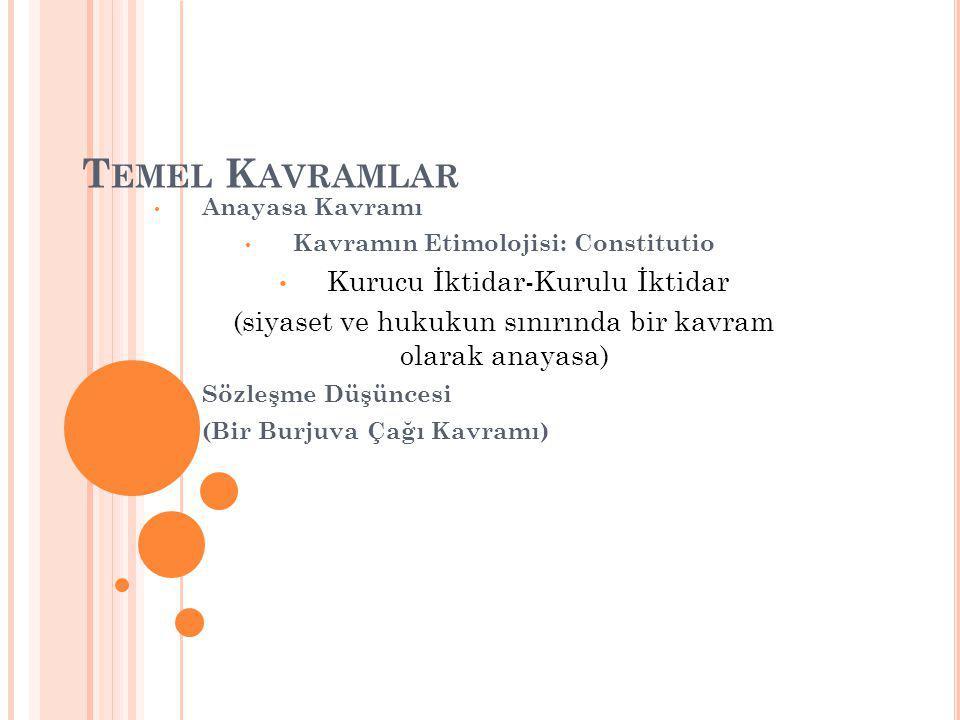 T EMEL K AVRAMLAR Anayasa Kavramı Kavramın Etimolojisi: Constitutio Kurucu İktidar-Kurulu İktidar (siyaset ve hukukun sınırında bir kavram olarak anayasa) Sözleşme Düşüncesi (Bir Burjuva Çağı Kavramı)