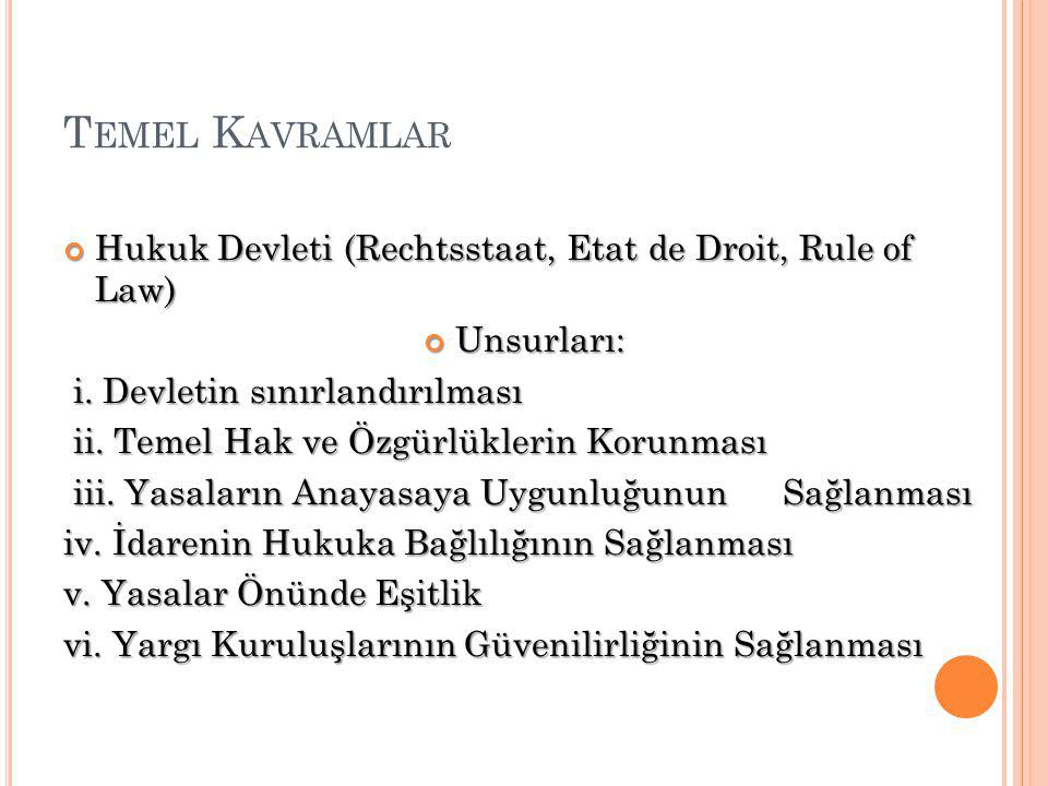 T EMEL K AVRAMLAR Hukuk Devleti (Rechtsstaat, Etat de Droit, Rule of Law) Unsurları: i.