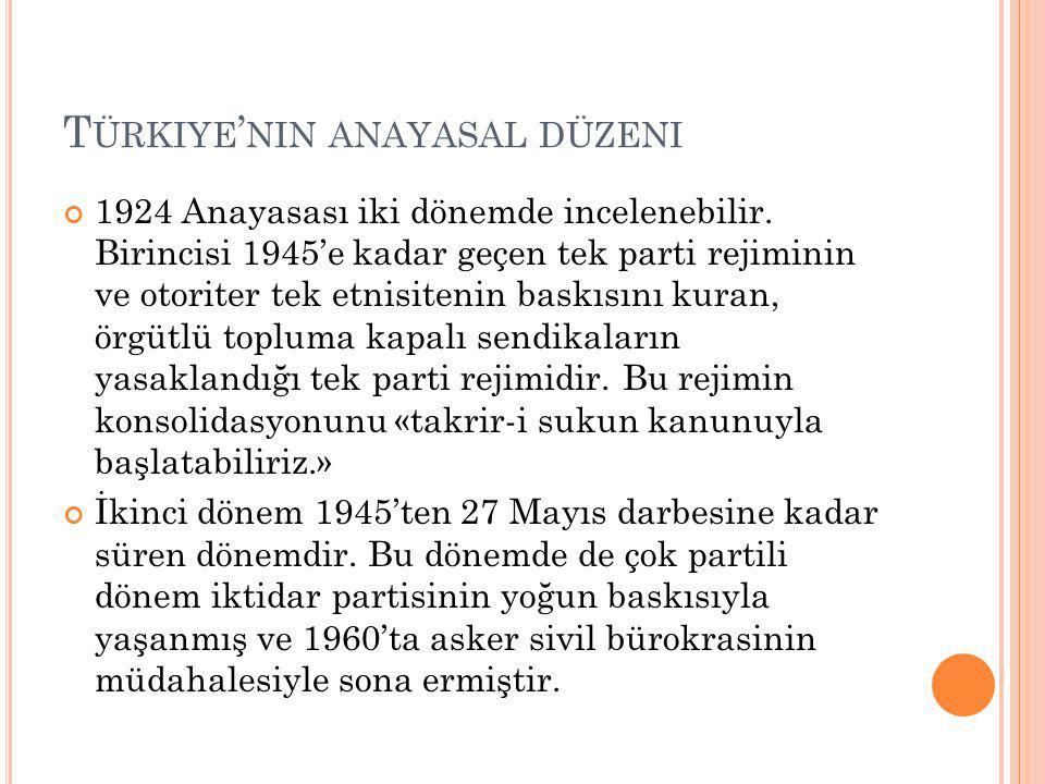 T ÜRKIYE ' NIN ANAYASAL DÜZENI 1924 Anayasası iki dönemde incelenebilir.