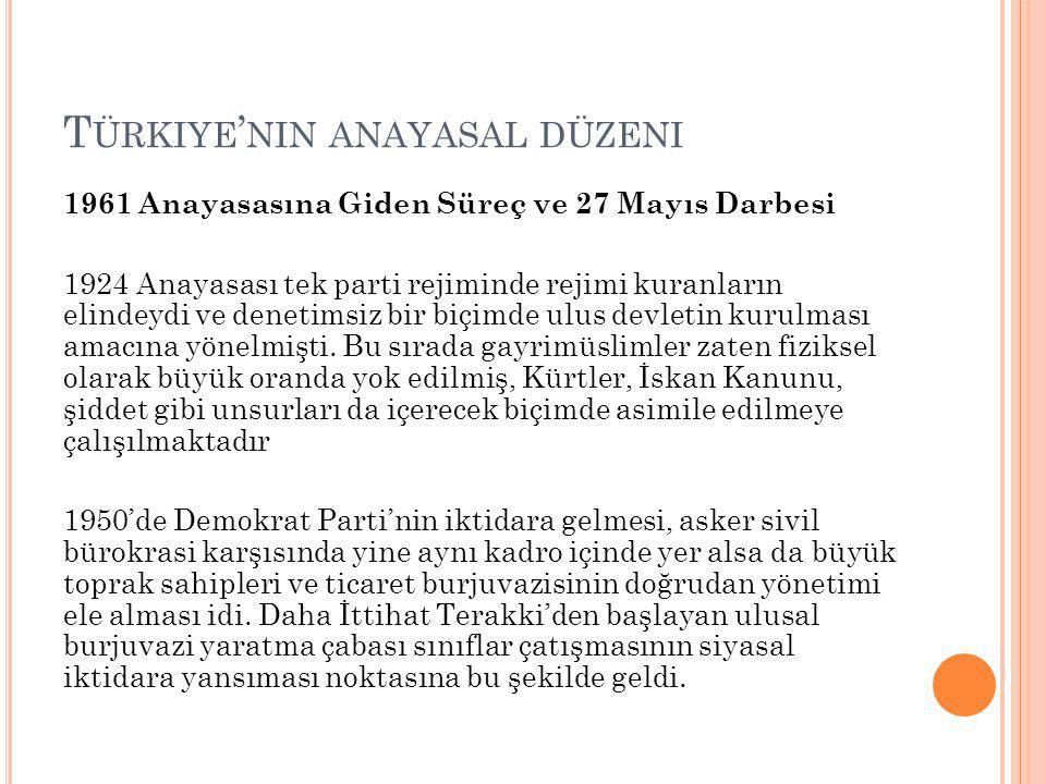 T ÜRKIYE ' NIN ANAYASAL DÜZENI 1961 Anayasasına Giden Süreç ve 27 Mayıs Darbesi 1924 Anayasası tek parti rejiminde rejimi kuranların elindeydi ve denetimsiz bir biçimde ulus devletin kurulması amacına yönelmişti.