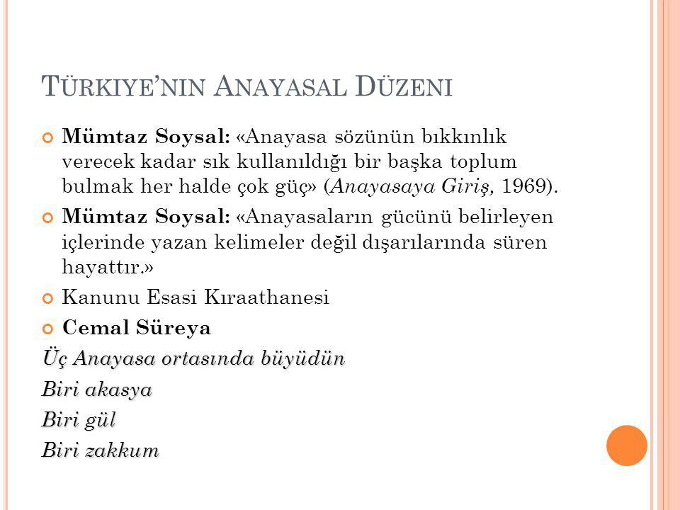 T ÜRKIYE ' NIN ANAYASAL DÜZENI 11 Nisan 1920'de son Osmanlı Mebusan Meclisi'nin resmen dağıtılmasıyla, bu meclisin 28 Ocak 1920'de kabul ettiği Misak-ı Milli'yi de köprü yapacak bir biçimde Heyet-i Temsiliye Kararıyla Ankara'da 'Fevkalede yetkileri haiz bir meclis'in toplanması çağrısı yapılıyor.
