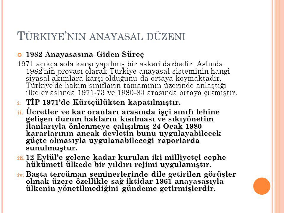 T ÜRKIYE ' NIN ANAYASAL DÜZENI 1982 Anayasasına Giden Süreç 1971 açıkça sola karşı yapılmış bir askeri darbedir.