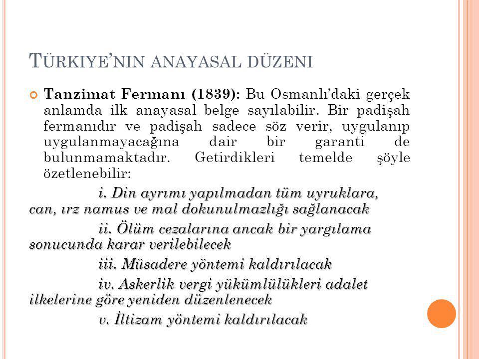 T ÜRKIYE ' NIN ANAYASAL DÜZENI 1.