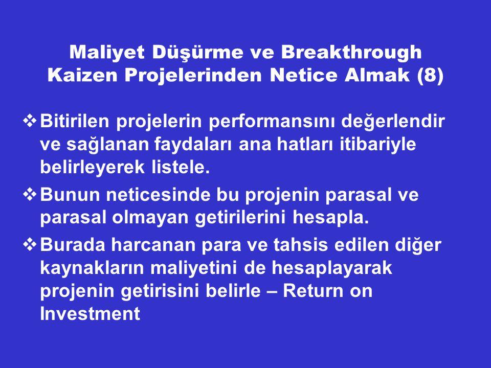 Maliyet Düşürme ve Breakthrough Kaizen Projelerinden Netice Almak (8)  Bitirilen projelerin performansını değerlendir ve sağlanan faydaları ana hatla