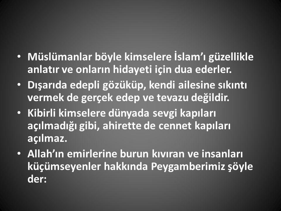 Müslümanlar böyle kimselere İslam'ı güzellikle anlatır ve onların hidayeti için dua ederler.