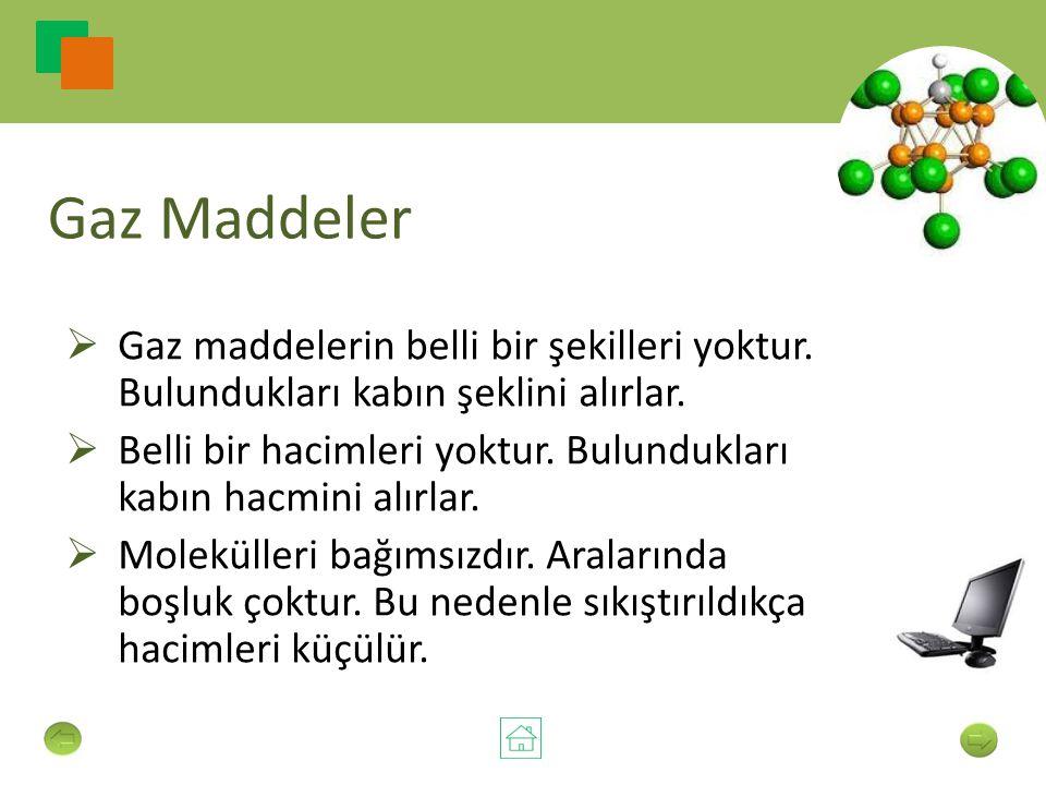 Gaz Maddeler  Gaz maddelerin belli bir şekilleri yoktur.