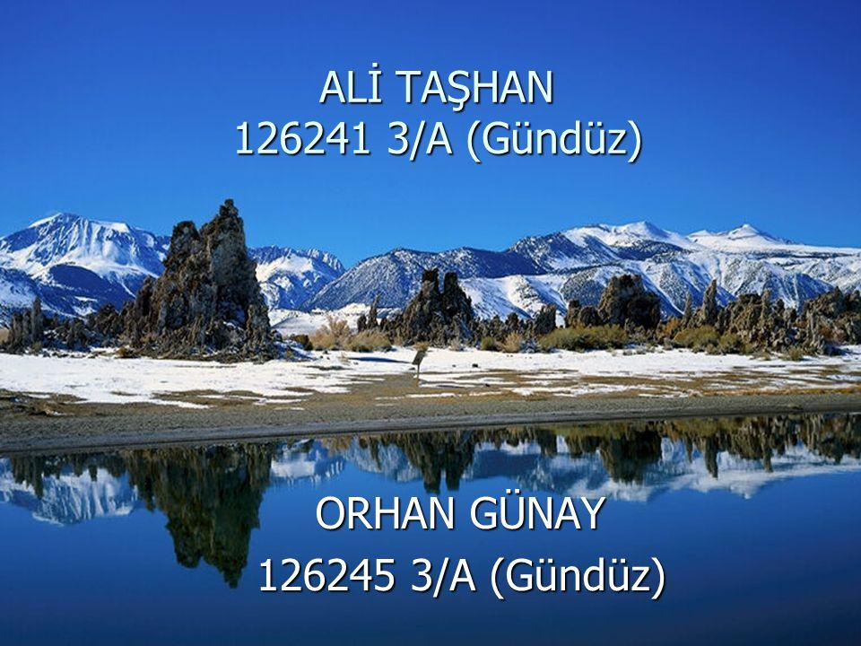 ALİ TAŞHAN 126241 3/A (Gündüz) ORHAN GÜNAY 126245 3/A (Gündüz)
