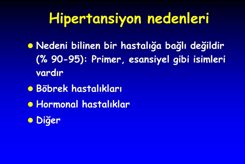 Hipertansiyon nedenleri l Nedeni bilinen bir hastalığa bağlı değildir (% 90-95): Primer, esansiyel gibi isimleri vardır l Böbrek hastalıkları l Hormonal hastalıklar l Diğer