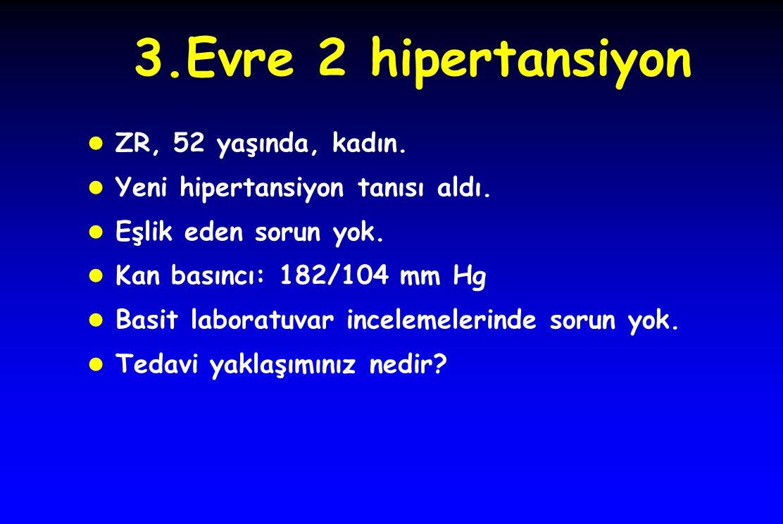 3.Evre 2 hipertansiyon l ZR, 52 yaşında, kadın. l Yeni hipertansiyon tanısı aldı.