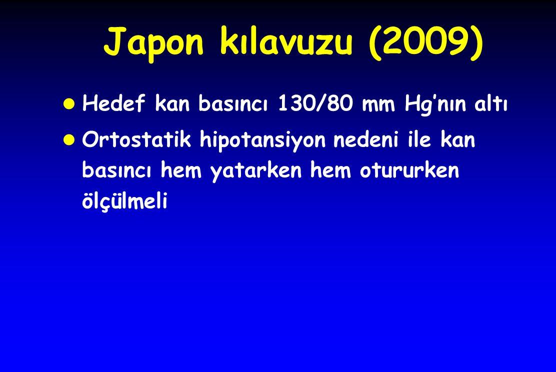 Japon kılavuzu (2009) l Hedef kan basıncı 130/80 mm Hg'nın altı l Ortostatik hipotansiyon nedeni ile kan basıncı hem yatarken hem otururken ölçülmeli