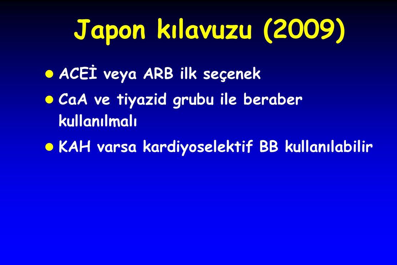 Japon kılavuzu (2009) l ACEİ veya ARB ilk seçenek l CaA ve tiyazid grubu ile beraber kullanılmalı l KAH varsa kardiyoselektif BB kullanılabilir