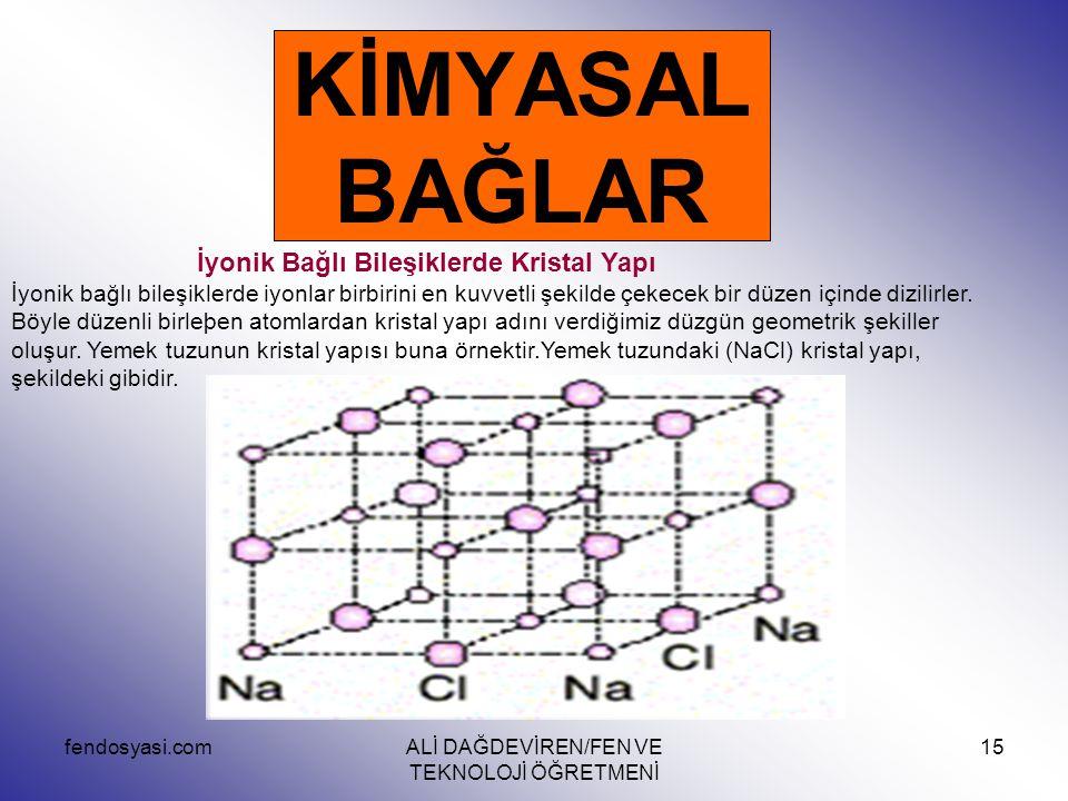 fendosyasi.comALİ DAĞDEVİREN/FEN VE TEKNOLOJİ ÖĞRETMENİ 15 KİMYASAL BAĞLAR İyonik Bağlı Bileşiklerde Kristal Yapı İyonik bağlı bileşiklerde iyonlar bi