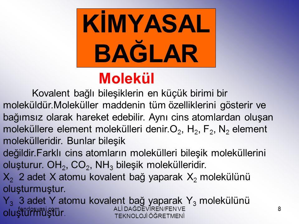 fendosyasi.comALİ DAĞDEVİREN/FEN VE TEKNOLOJİ ÖĞRETMENİ 8 KİMYASAL BAĞLAR Molekül Kovalent bağlı bileşiklerin en küçük birimi bir moleküldür.Molekülle