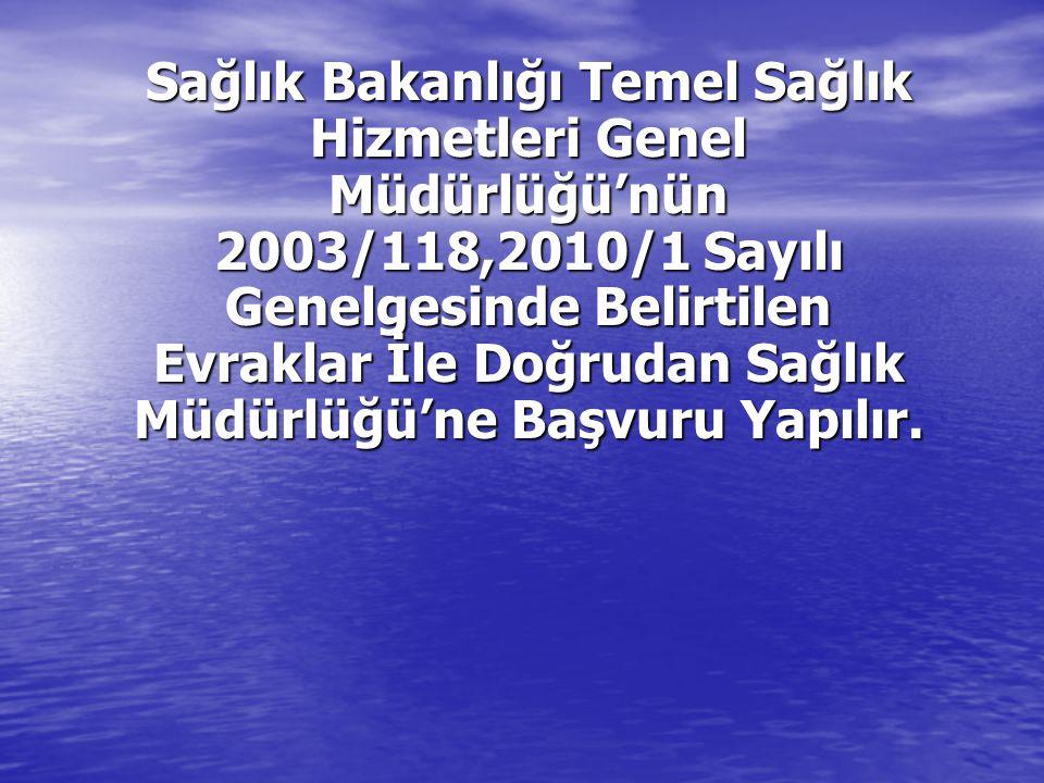 LABORATUAR BAŞVULARI SAĞLIK BAKANLIĞI TEDAVİ HİZMETLERİ GENEL MÜDÜRLÜĞÜNÜN 2003/118 VE 2010/ 1 SAYILI GENELGE EKİNDE EK:9 'DA YER ALANBAŞVURU EVRAKLARINA GÖRE HAZIRLANIR.