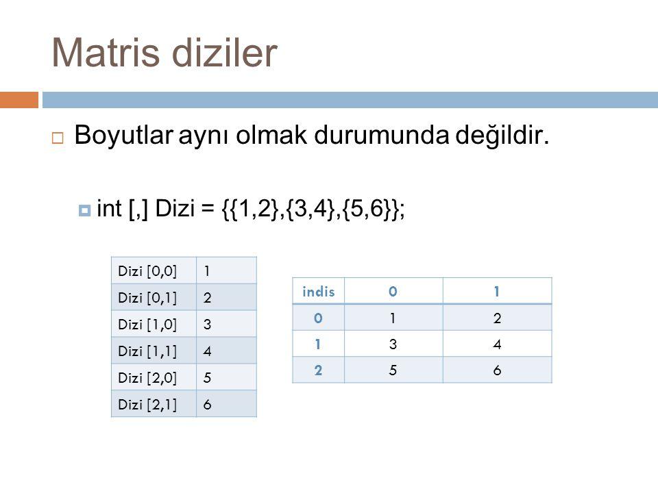 Matris diziler  Boyutlar aynı olmak durumunda değildir.  int [,] Dizi = {{1,2},{3,4},{5,6}}; Dizi [0,0]1 Dizi [0,1]2 Dizi [1,0]3 Dizi [1,1]4 Dizi [2