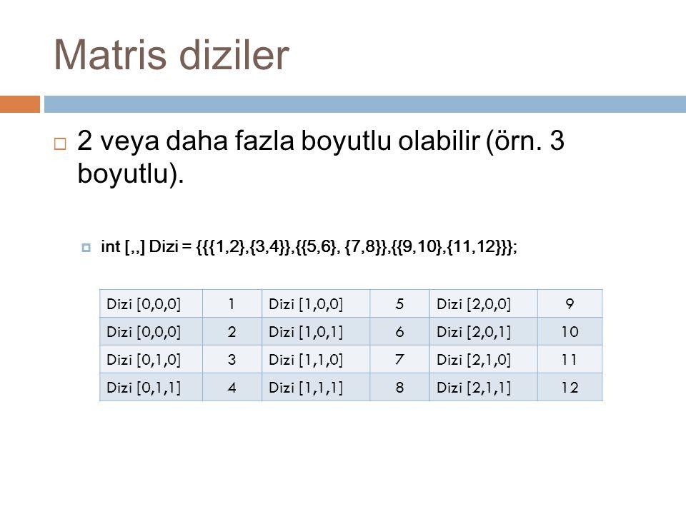 Matris diziler  2 veya daha fazla boyutlu olabilir (örn. 3 boyutlu).  int [,,] Dizi = {{{1,2},{3,4}},{{5,6}, {7,8}},{{9,10},{11,12}}}; Dizi [0,0,0]1