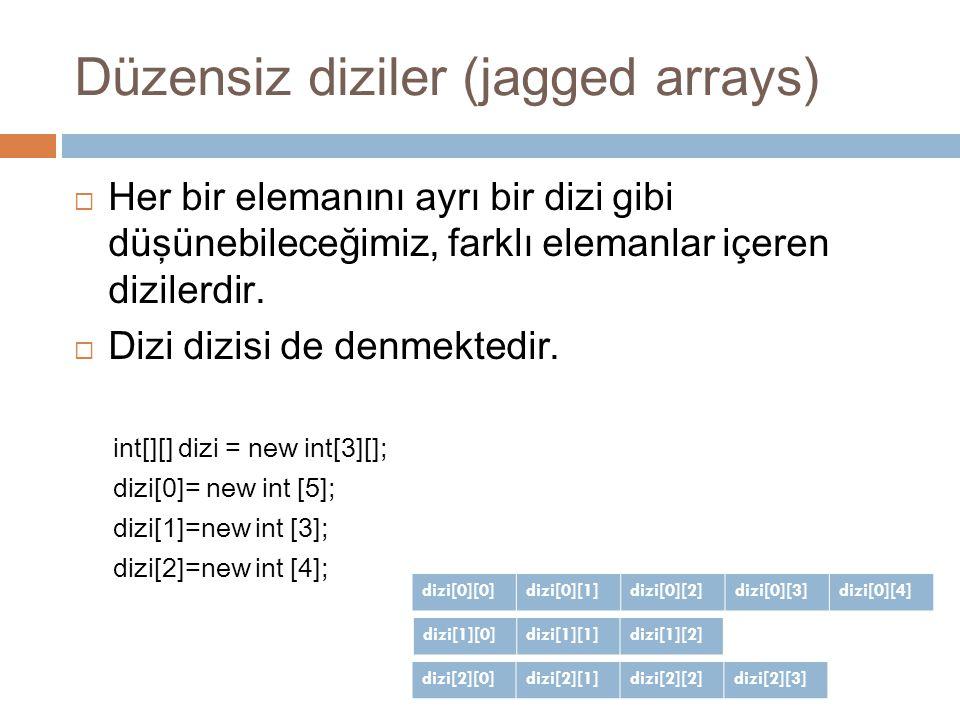 Düzensiz diziler (jagged arrays)  Her bir elemanını ayrı bir dizi gibi düşünebileceğimiz, farklı elemanlar içeren dizilerdir.  Dizi dizisi de denmek
