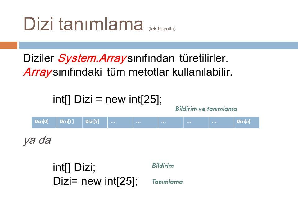 Dizi tanımlama (tek boyutlu) Diziler System.Array sınıfından türetilirler. Array sınıfındaki tüm metotlar kullanılabilir. int[] Dizi = new int[25]; ya