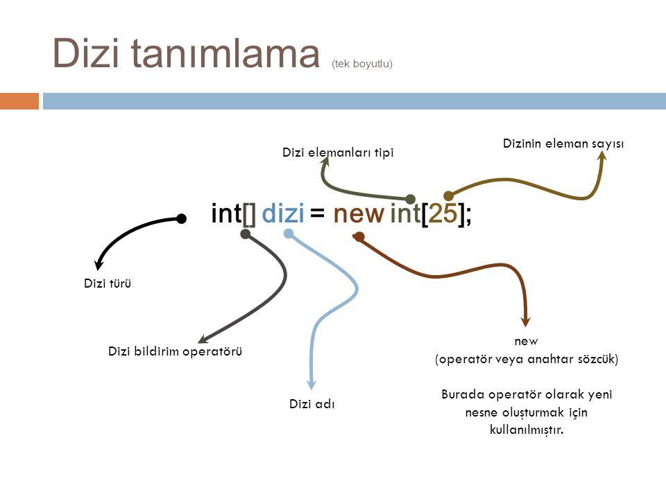 Dizi tanımlama (tek boyutlu) int[] dizi = new int[25]; new (operatör veya anahtar sözcük) Burada operatör olarak yeni nesne oluşturmak için kullanılmı