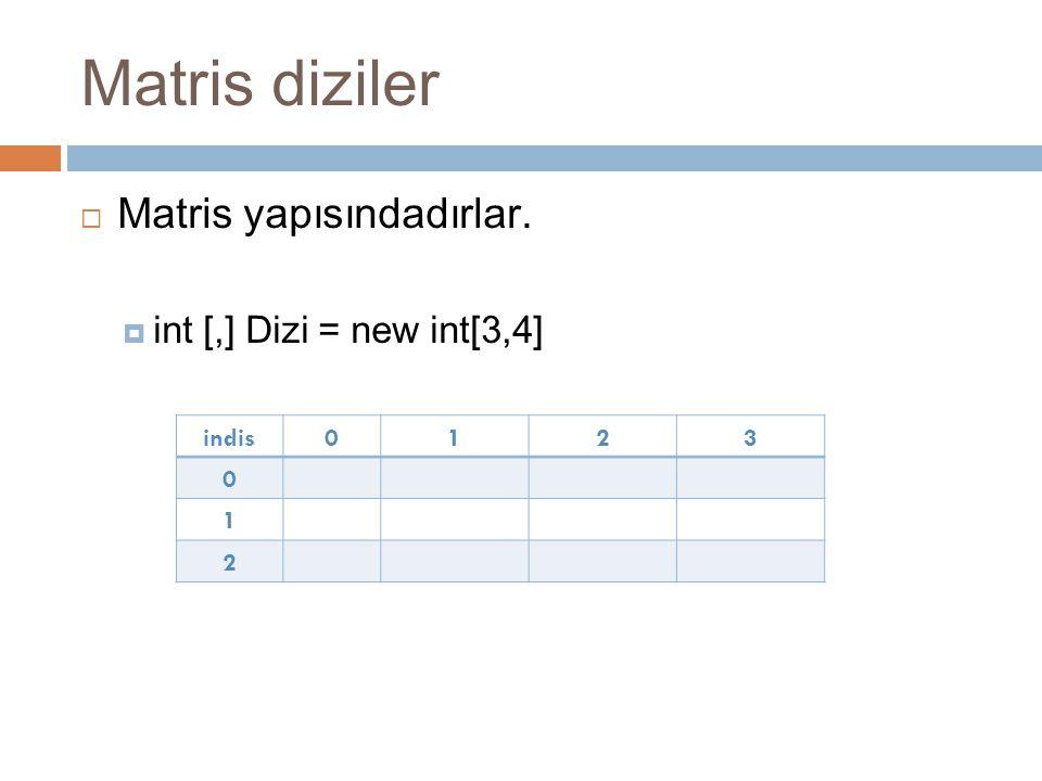 Matris diziler  Matris yapısındadırlar.  int [,] Dizi = new int[3,4] indis0123 0 1 2