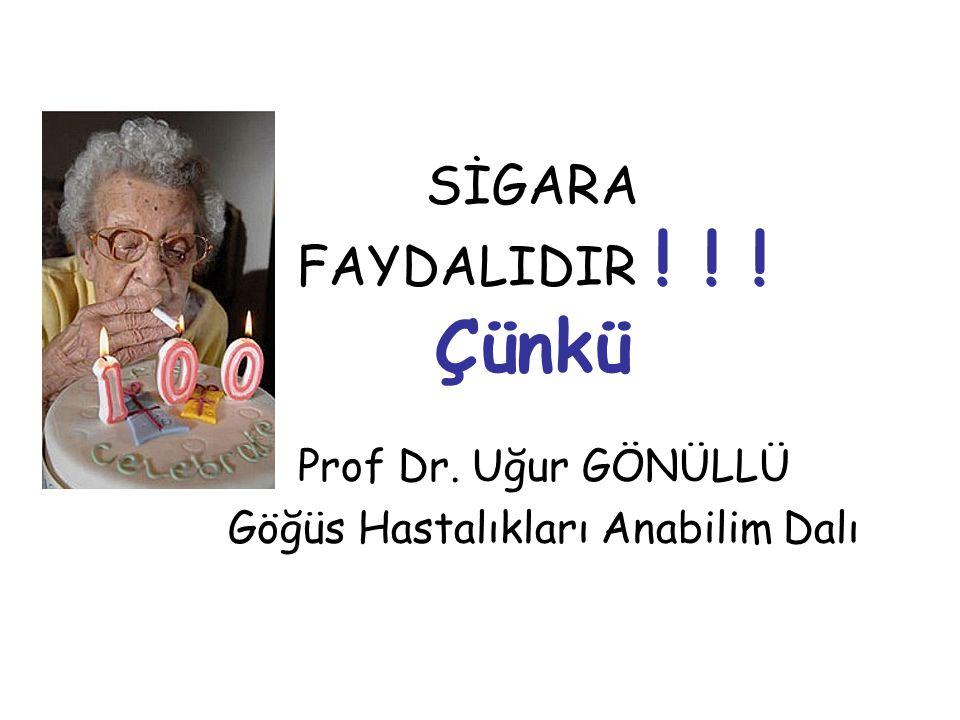 SİGARA FAYDALIDIR ! ! ! Çünkü Prof Dr. Uğur GÖNÜLLÜ Göğüs Hastalıkları Anabilim Dalı