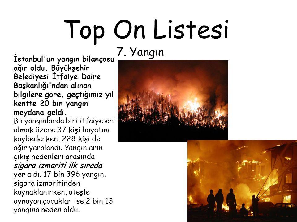 Top On Listesi 7. Yangın İstanbul'un yangın bilançosu ağır oldu. Büyükşehir Belediyesi İtfaiye Daire Başkanlığı'ndan alınan bilgilere göre, geçtiğimiz