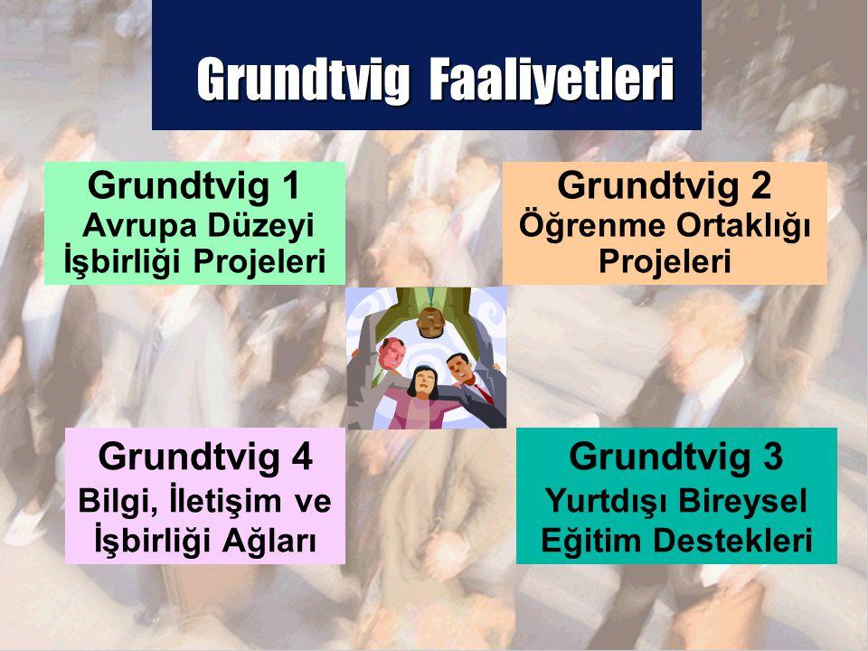 Grundtvig Faaliyetleri Grundtvig 1 Avrupa Düzeyi İşbirliği Projeleri Grundtvig 2 Öğrenme Ortaklığı Projeleri Grundtvig 3 Yurtdışı Bireysel Eğitim Destekleri Grundtvig 4 Bilgi, İletişim ve İşbirliği Ağları