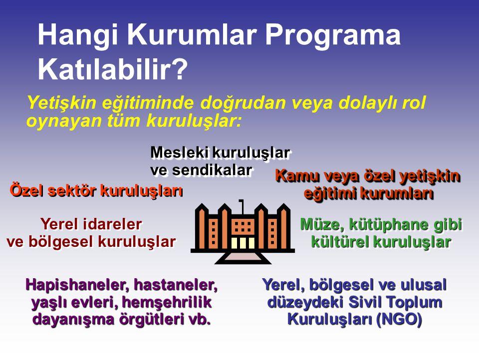 Hangi Kurumlar Programa Katılabilir? Yetişkin eğitiminde doğrudan veya dolaylı rol oynayan tüm kuruluşlar: Kamu veya özel yetişkin eğitimi kurumları K