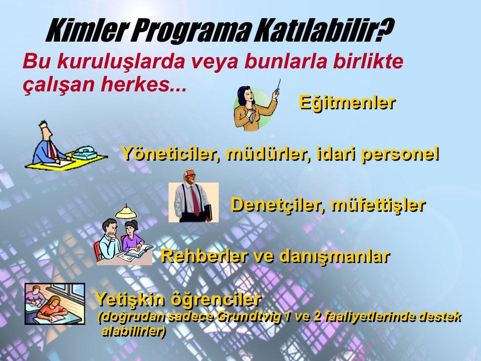 Kimler Programa Katılabilir? Bu kuruluşlarda veya bunlarla birlikte çalışan herkes... Eğitmenler Yöneticiler, müdürler, idari personel Denetçiler, müf