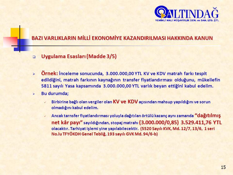 15 BAZI VARLIKLARIN MİLLİ EKONOMİYE KAZANDIRILMASI HAKKINDA KANUN  Uygulama Esasları (Madde 3/5)  Örnek:  Örnek: İnceleme sonucunda, 3.000.000,00 YTL KV ve KDV matrah farkı tespit edildiğini, matrah farkının kaynağının transfer fiyatlandırması olduğunu, mükellefin 5811 sayılı Yasa kapsamında 3.000.000,00 YTL varlık beyan ettiğini kabul edelim.