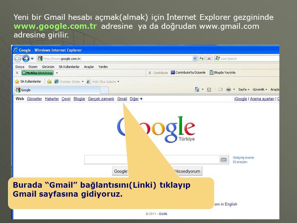 Yeni bir Gmail hesabı açmak(almak) için İnternet Explorer gezgininde www.google.com.tr adresine ya da doğrudan www.gmail.com adresine girilir. Burada