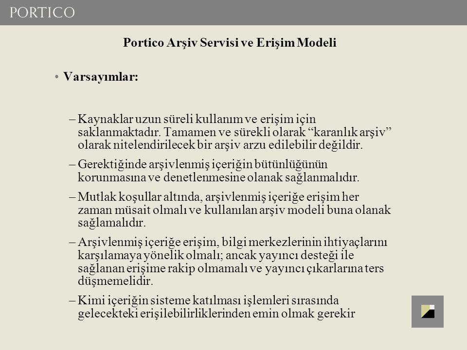 Portico Arşiv Servisi ve Erişim Modeli Varsayımlar: –Kaynaklar uzun süreli kullanım ve erişim için saklanmaktadır.
