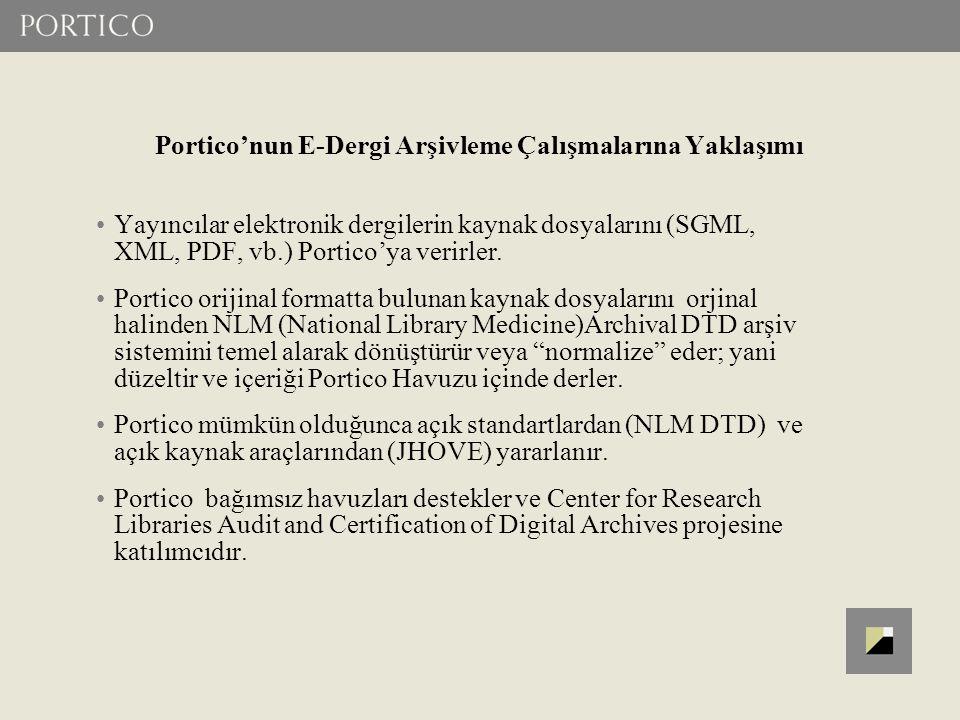 Portico'nun E-Dergi Arşivleme Çalışmalarına Yaklaşımı Yayıncılar elektronik dergilerin kaynak dosyalarını (SGML, XML, PDF, vb.) Portico'ya verirler. P