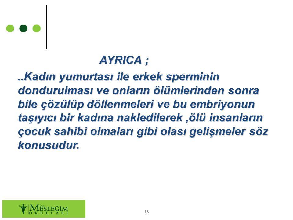 AYRICA ; AYRICA ;..Kadın yumurtası ile erkek sperminin dondurulması ve onların ölümlerinden sonra bile çözülüp döllenmeleri ve bu embriyonun taşıyıcı