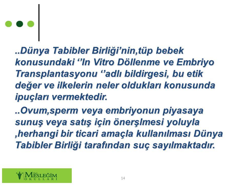..Dünya Tabibler Birliği'nin,tüp bebek konusundaki ''In Vitro Döllenme ve Embriyo Transplantasyonu ''adlı bildirgesi, bu etik değer ve ilkelerin neler