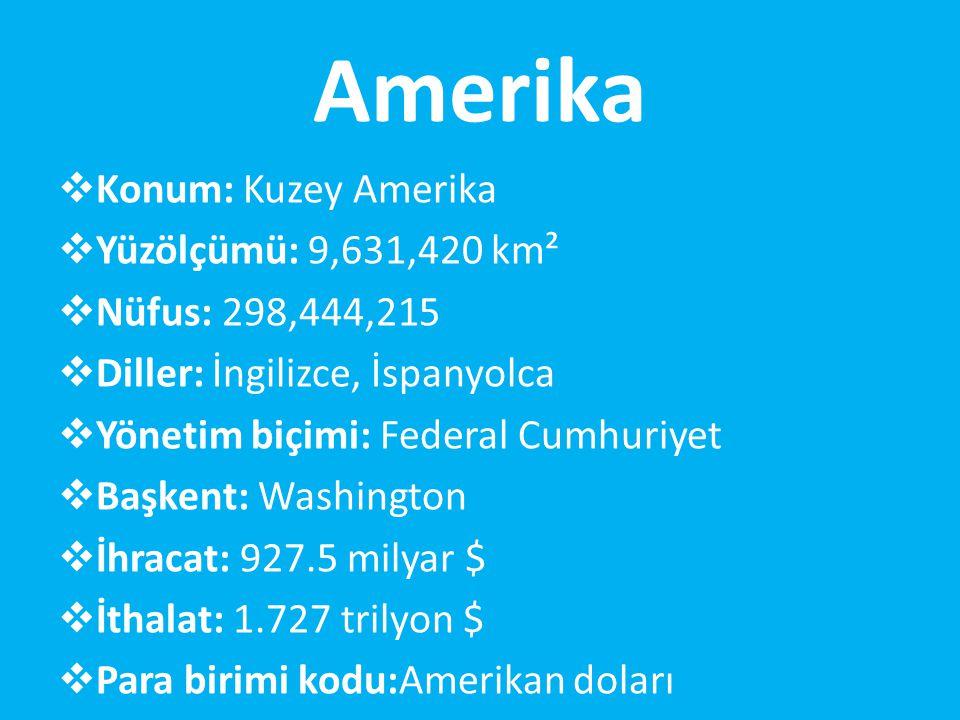 Amerika  Konum: Kuzey Amerika  Yüzölçümü: 9,631,420 km²  Nüfus: 298,444,215  Diller: İngilizce, İspanyolca  Yönetim biçimi: Federal Cumhuriyet  Başkent: Washington  İhracat: 927.5 milyar $  İthalat: 1.727 trilyon $  Para birimi kodu:Amerikan doları