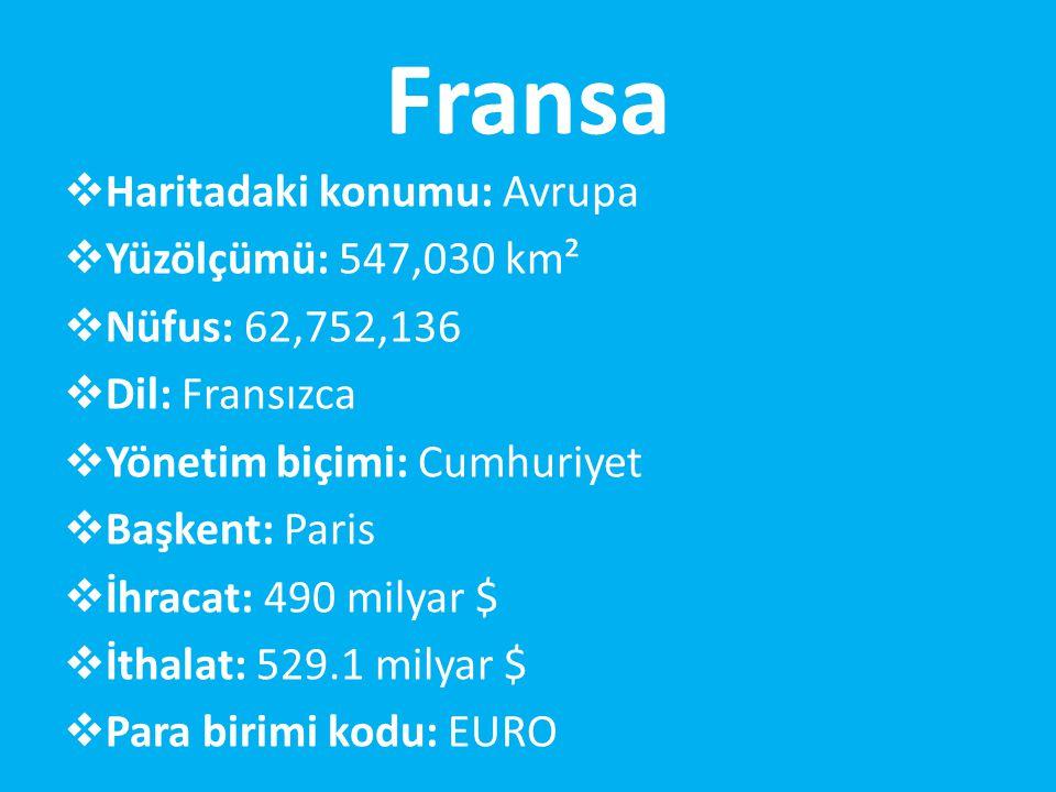 Fransa  Haritadaki konumu: Avrupa  Yüzölçümü: 547,030 km²  Nüfus: 62,752,136  Dil: Fransızca  Yönetim biçimi: Cumhuriyet  Başkent: Paris  İhracat: 490 milyar $  İthalat: 529.1 milyar $  Para birimi kodu: EURO