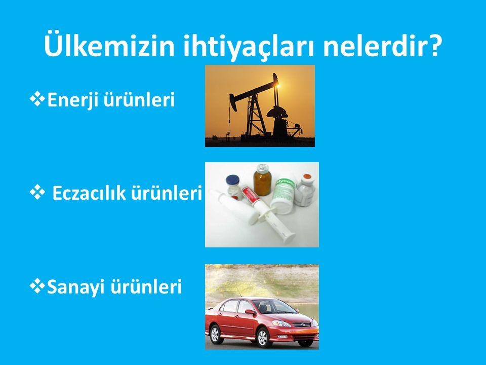 Ülkemizin ihtiyaçları nelerdir?  Enerji ürünleri  Eczacılık ürünleri  Sanayi ürünleri