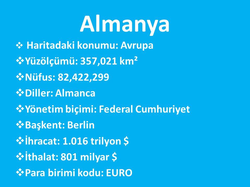Almanya  Haritadaki konumu: Avrupa  Yüzölçümü: 357,021 km²  Nüfus: 82,422,299  Diller: Almanca  Yönetim biçimi: Federal Cumhuriyet  Başkent: Berlin  İhracat: 1.016 trilyon $  İthalat: 801 milyar $  Para birimi kodu: EURO
