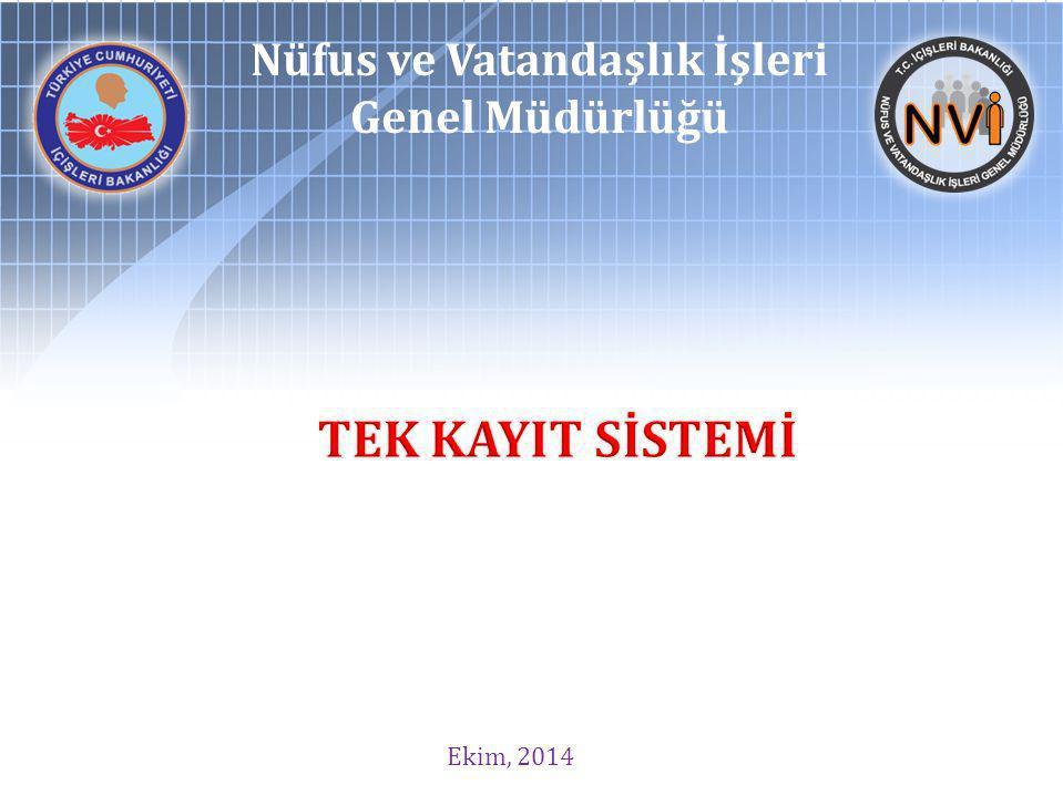 Ekim, 2014 Nüfus ve Vatandaşlık İşleri Genel Müdürlüğü