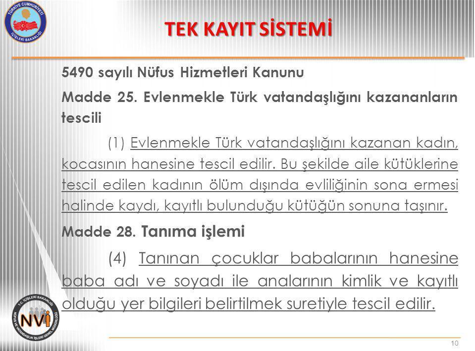 5490 sayılı Nüfus Hizmetleri Kanunu Madde 25. Evlenmekle Türk vatandaşlığını kazananların tescili (1) Evlenmekle Türk vatandaşlığını kazanan kadın, ko