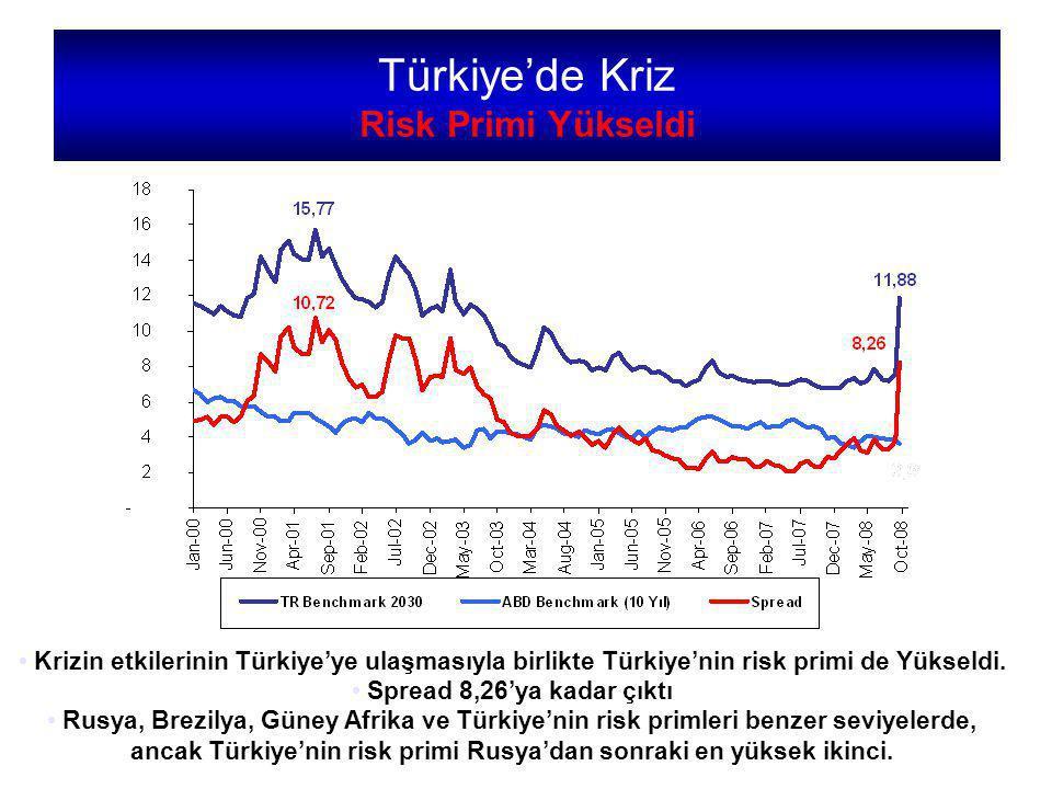 Krizin etkilerinin Türkiye'ye ulaşmasıyla birlikte Türkiye'nin risk primi de Yükseldi.