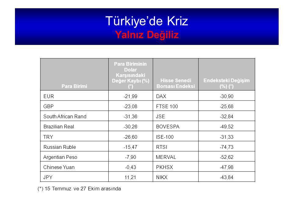 Türkiye'de Kriz Yalnız Değiliz (*) 15 Temmuz ve 27 Ekim arasında Para Birimi Para Biriminin Dolar Karşısındaki Değer Kaybı (%) (*) Hisse Senedi Borsası Endeksi Endeksteki Değişim (%) (*) EUR-21,99DAX-30,90 GBP-23,08FTSE 100-25,68 South African Rand-31,36JSE-32,84 Brazilian Real-30,26BOVESPA-49,52 TRY-26,60ISE-100-31,33 Russian Ruble-15,47RTSI-74,73 Argentian Peso-7,90MERVAL-52,62 Chinese Yuan-0,43PKHSX-47,98 JPY11,21NIKX-43,84