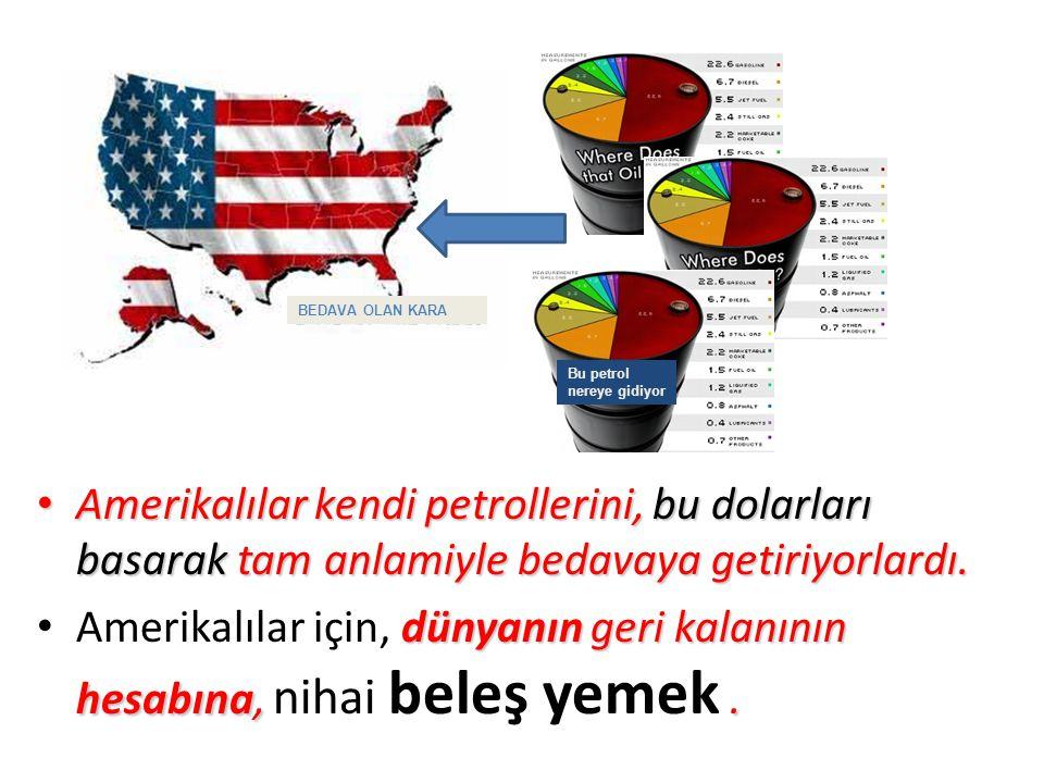Amerikalılar kendi petrollerini, bu dolarları basarak tam anlamiyle bedavaya getiriyorlardı.