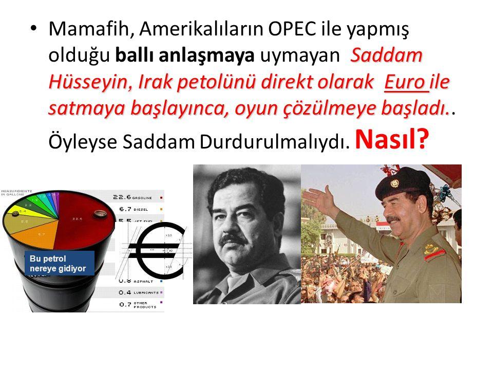 Saddam Hüsseyin, Irak petolünü direkt olarak Euro ile satmaya başlayınca, oyun çözülmeye başladı.