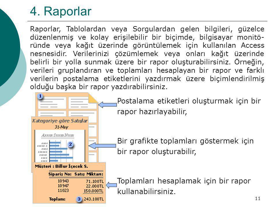 11 4. Raporlar Raporlar, Tablolardan veya Sorgulardan gelen bilgileri, güzelce düzenlenmiş ve kolay erişilebilir bir biçimde, bilgisayar monitö- ründe